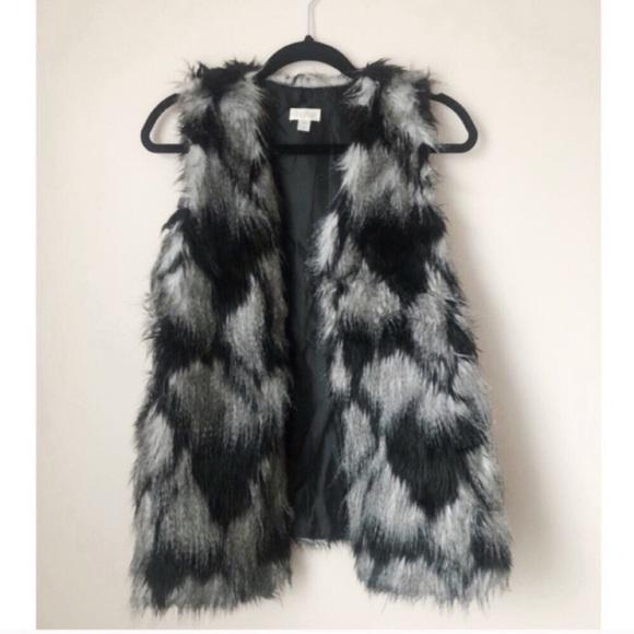 Decree Black Faux Fur Vest NWOT Size M